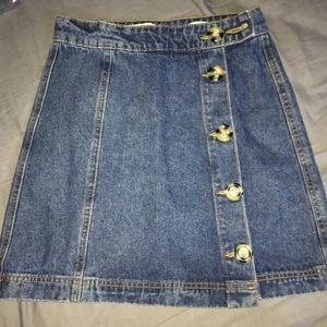 Denim Buttoned Up Pencil Skirt.